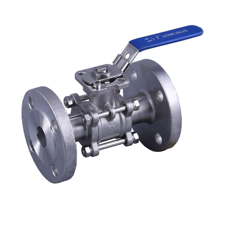 LN-Q3DFH-3PC flange ball valve with direct mounting pad PN16